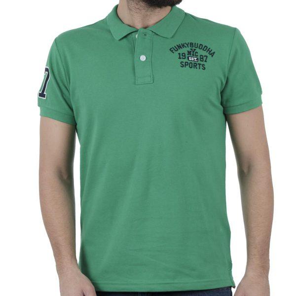 Κοντομάνικη Μπλούζα Polo FUNKY BUDDHA FBM019-11119 Πράσινο