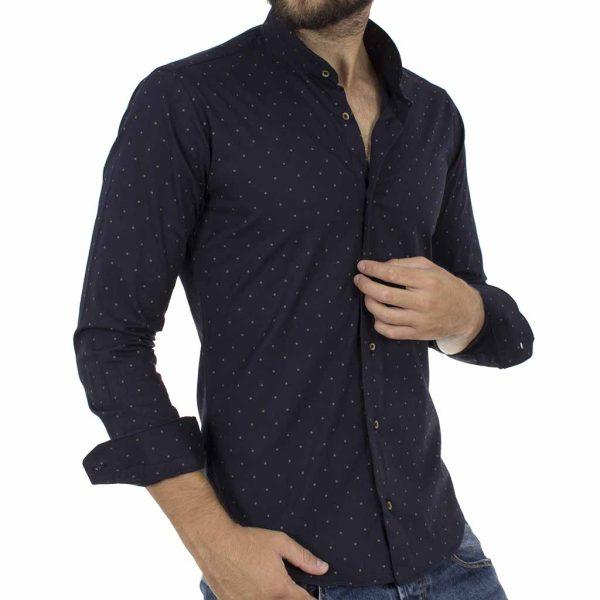 Πουά Μάο Μακρυμάνικο Πουκάμισο Slim Fit ENDESON CLUB 6010-100 σκούρο Μπλε