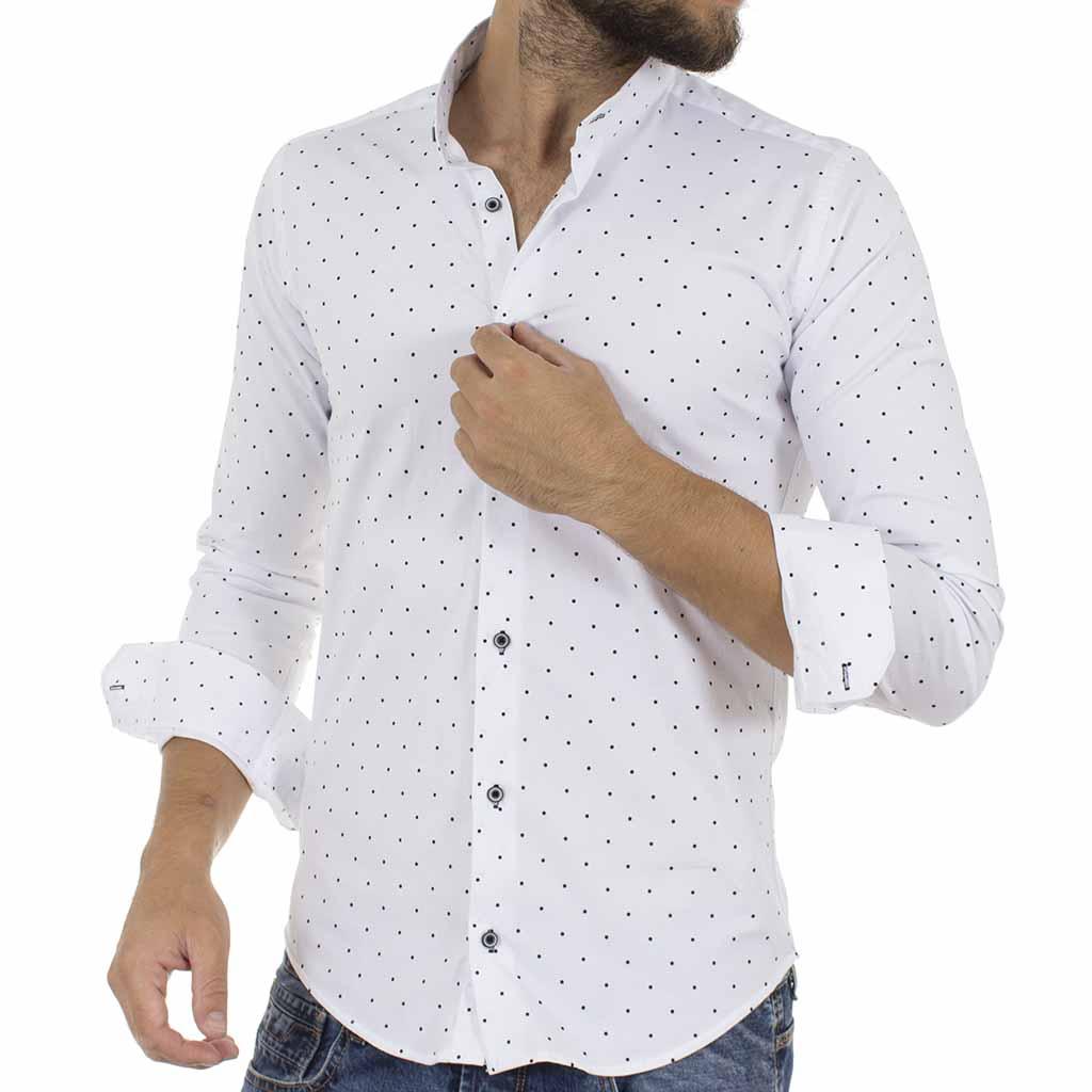 Πουά Μάο Μακρυμάνικο Πουκάμισο Slim Fit ENDESON CLUB 6010-100 Λευκό ... 2f66696964f