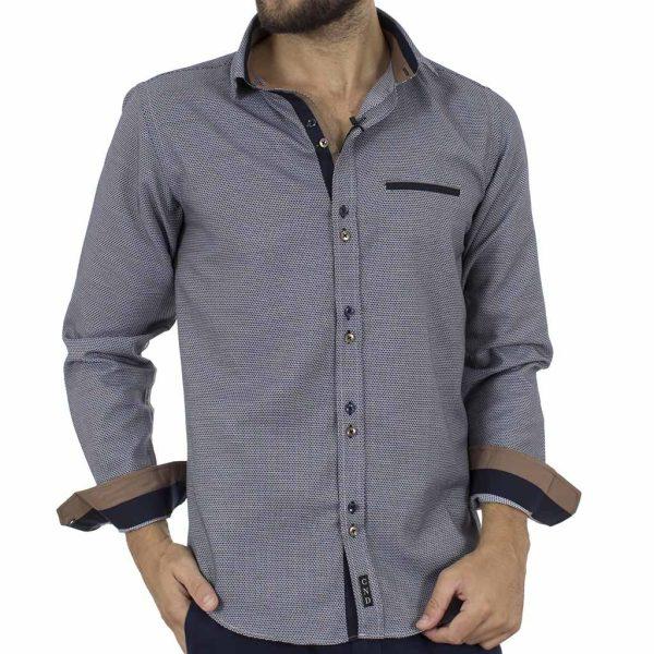 Μακρυμάνικο Πουκάμισο Slim Fit CND Shirts 3600 σκούρο Μπλε