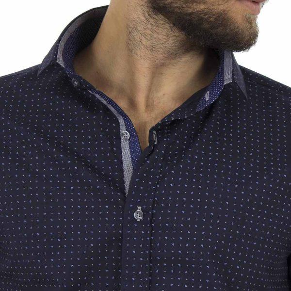 Μακρυμάνικο Πουκάμισο Slim Fit CND Shirts 3700 σκούρο Μπλε