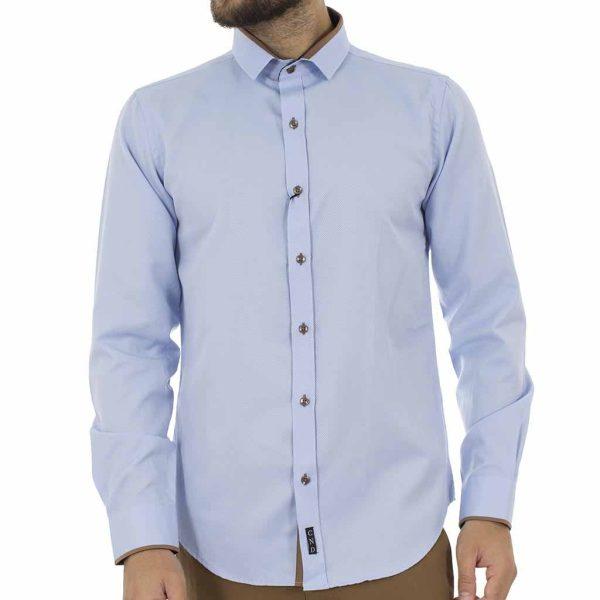 Μακρυμάνικο Πουκάμισο Slim Fit CND Shirts 3700 Sky Blue