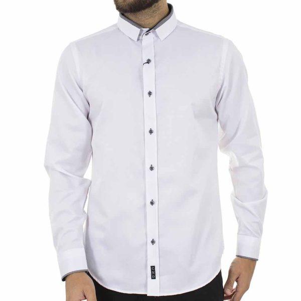 Μακρυμάνικο Πουκάμισο Slim Fit CND Shirts 3700 Λευκό