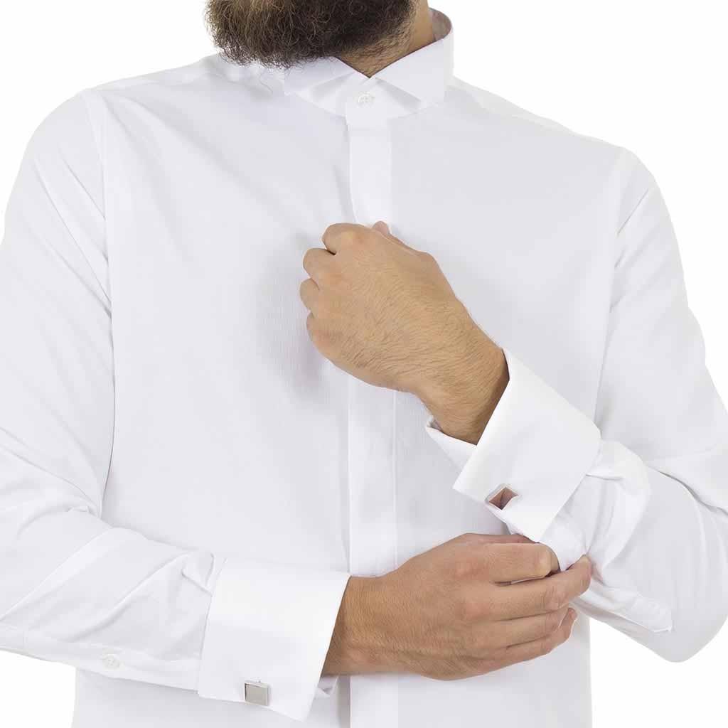 12010816888 Μακρυμάνικο Πουκάμισο με Γιακά για Παπιγιόν CND Shirts 80 Λευκό ...