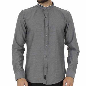 Μάο Μακρυμάνικο Πουκάμισο Slim Fit CND Shirts 3550 σκούρο Γκρι