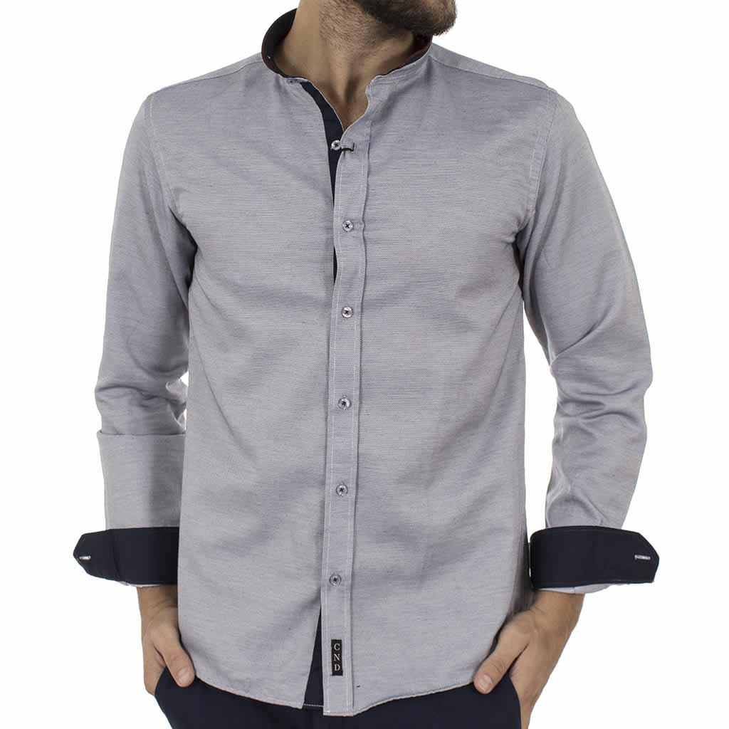 d0508f3753f1 Μάο Μακρυμάνικο Πουκάμισο Slim Fit CND Shirts 3550-6 Γκρι