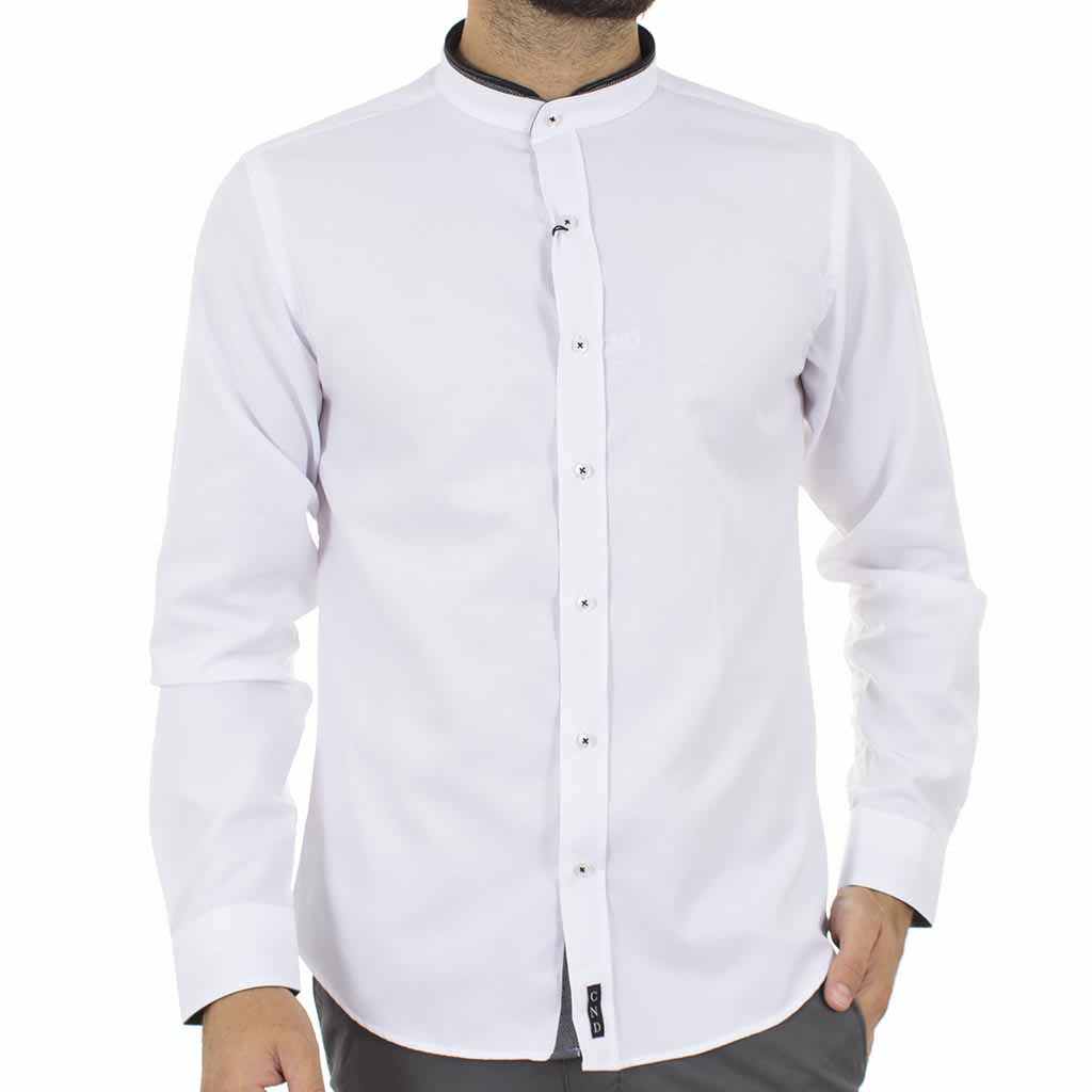 437a36b31c83 Μάο Μακρυμάνικο Πουκάμισο Slim Fit CND Shirts 3550-4 Λευκό ...