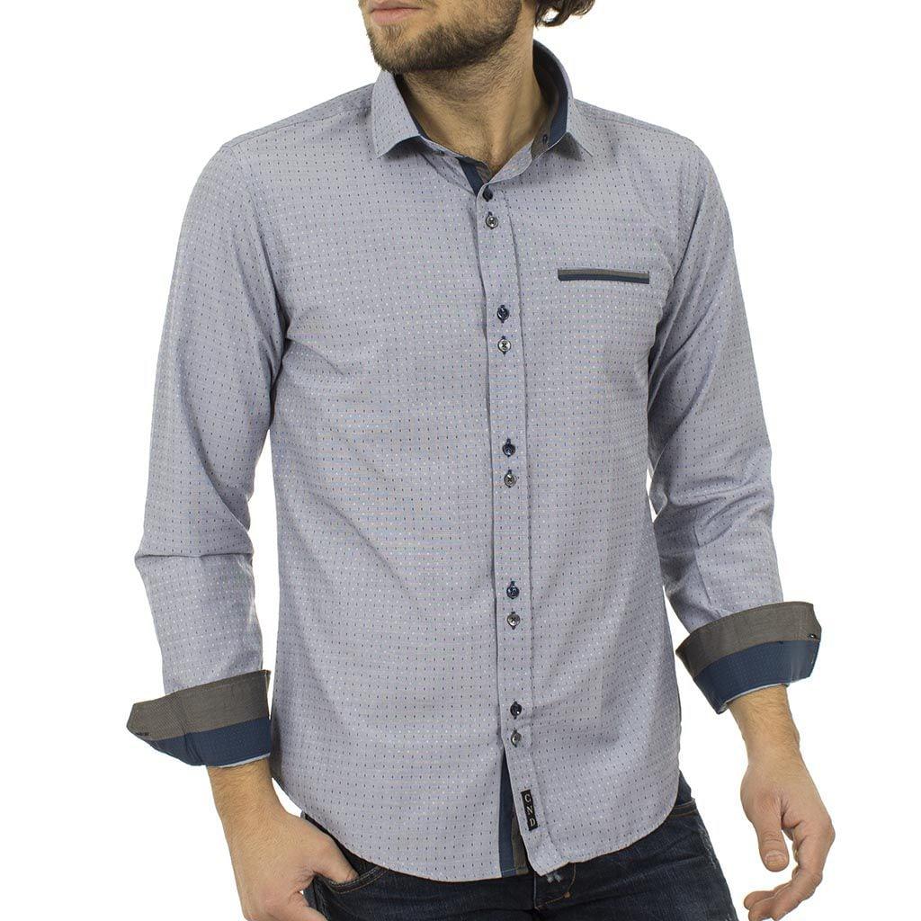 Μακρυμάνικο Πουκάμισο Slim Fit CND Shirts 1600-7 Γκρι