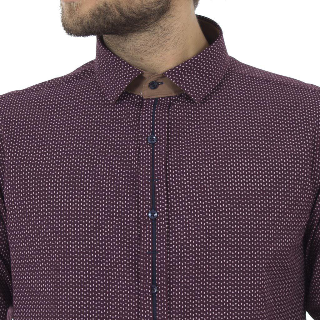 Μακρυμάνικο Πουκάμισο Slim Fit CND Shirts 1800-3 σκούρο Μωβ
