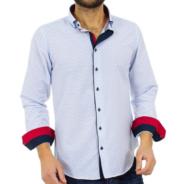 Μακρυμάνικο Πουκάμισο Slim Fit CND Shirts 2750-5 Γαλάζιο