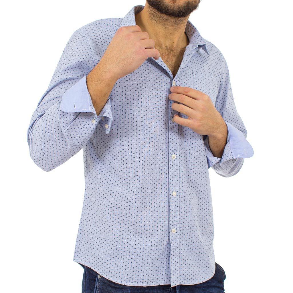 Μακρυμάνικο Πουκάμισο Slim Fit FUNKY BUDDHA FBM09-5116 Γαλάζιο