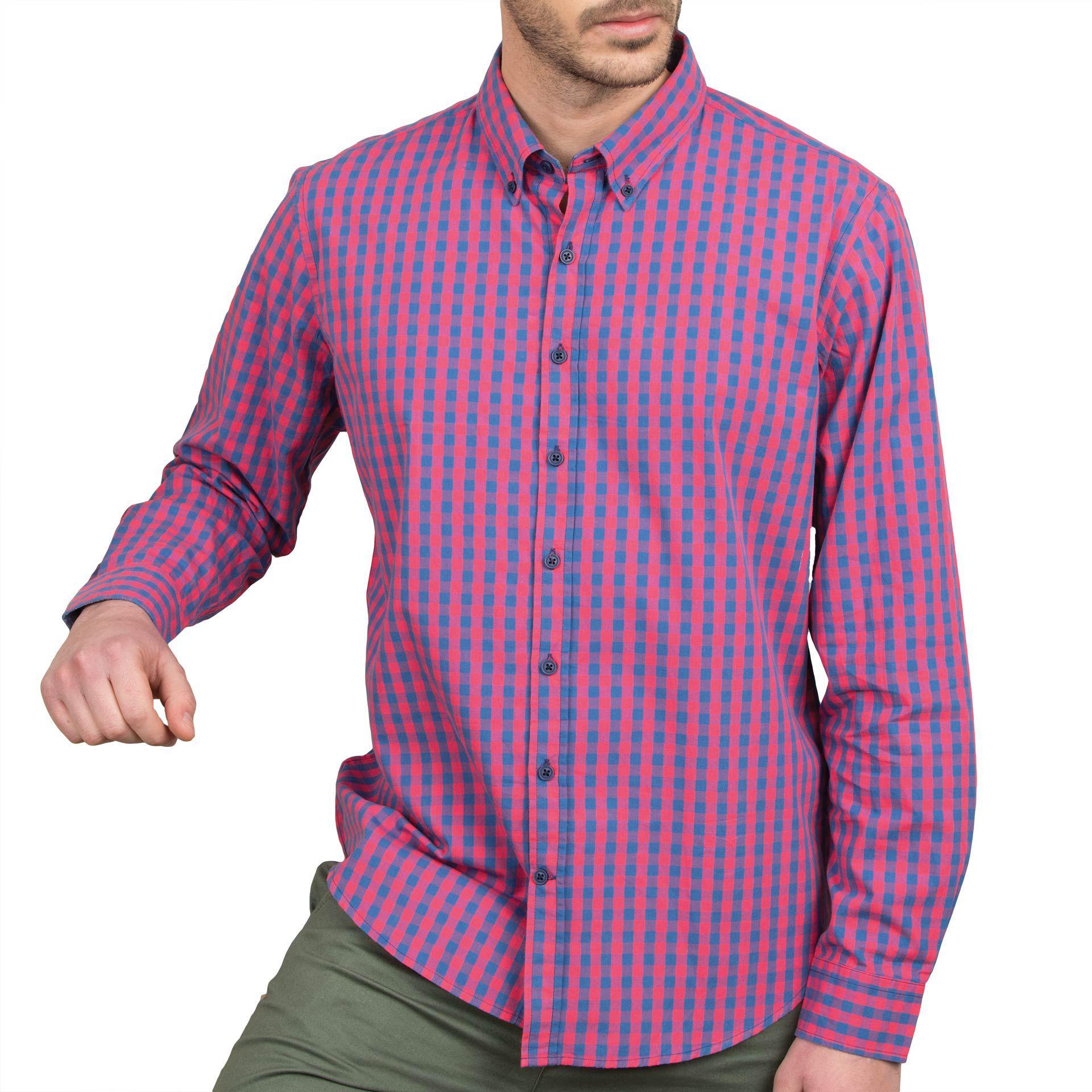 Ανδρικό πουκάμισο Double GS-444 Έντονο Ροζ