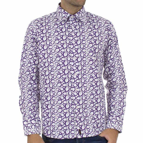 Φλοράλ Μακρυμάνικο Πουκάμισο CND Shirts 750-AN-007 Μωβ