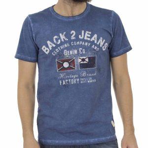 Κοντομάνικη Μπλούζα T-Shirt Back2Jeans B13 Μπλε