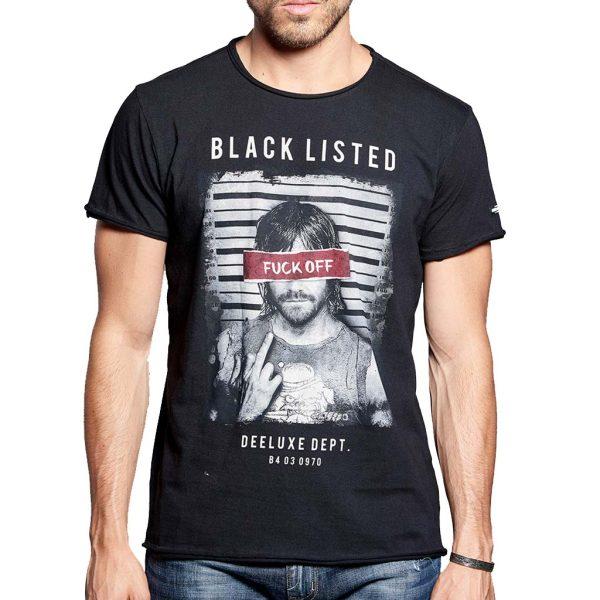 Κοντομάνικη Μπλούζα T-Shirt DEELUXE74 FUCKOFF W18142BLA Μαύρο