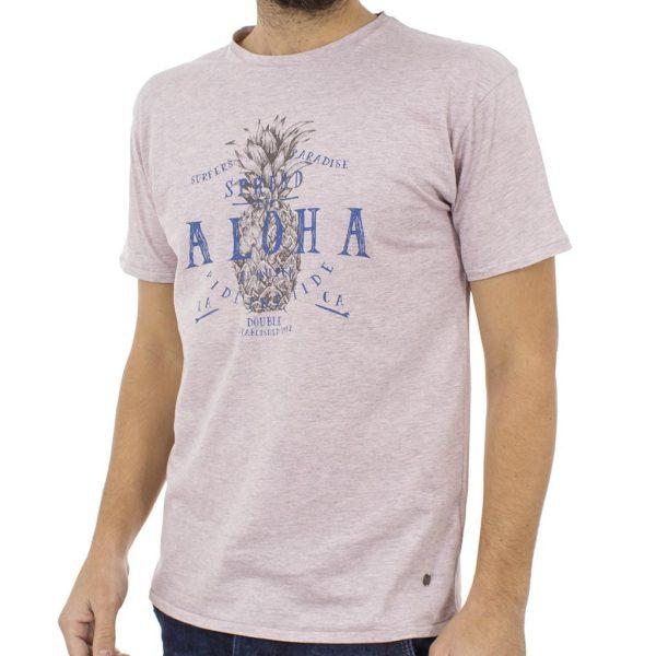Κοντομάνικη Μπλούζα T-Shirt Jersey Melange Tee DOUBLE TS-52 ανοιχτό Ροζ