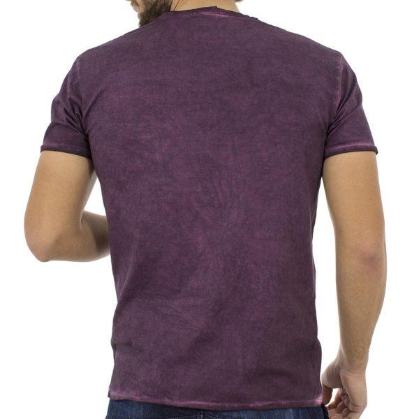 Κοντομάνικη Μπλούζα T-Shirt Jersey Melange Tee DOUBLE TS-52 Μωβ