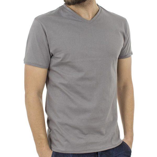 Κοντομάνικη Μπλούζα T-Shirt Jersey Tee DOUBLE TS-61 Γκρι