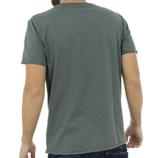 Κοντομάνικη Μπλούζα T-Shirt V Neck Flama Tee DOUBLE TS-66 Pesto