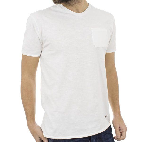 Κοντομάνικη Μπλούζα T-Shirt V Neck Flama Tee DOUBLE TS-66 Λευκό