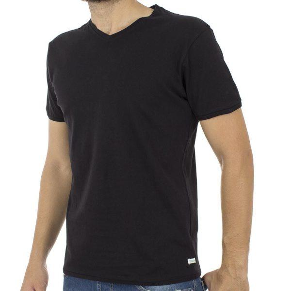 Κοντομάνικη Μπλούζα T-Shirt V-Neck Jersey Tee DOUBLE TS-61 Μαύρο