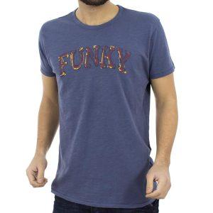 Κοντομάνικη Μπλούζα T-shirt FUNKY BUDDHA FBM023-04118 ανοιχτό Μπλε
