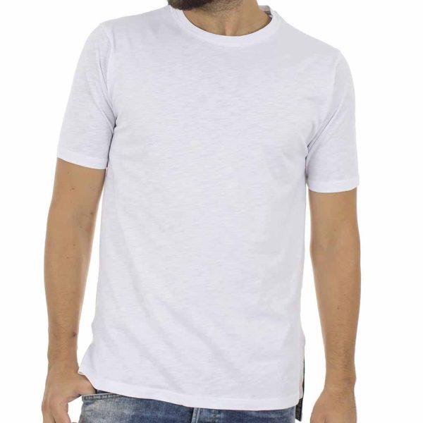 Κοντομάνικη Μπλούζα T-Shirt MESH&CO Asymmetric 02-219-07-31 Λευκό