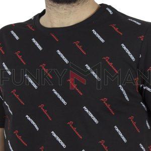 Κοντομάνικο All Over Print T-Shirt PONTEROSSO 19-1020 ALLOVER Μαύρο
