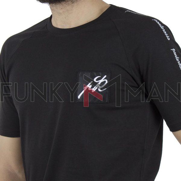 Κοντομάνικη Μπλούζα T-Shirt PONTEROSSO 19-1023 SLEEVES Μαύρο