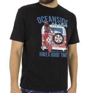 Κοντομάνικη Μπλούζα T-Shirt START CARAG 55-211-18N Μαύρο