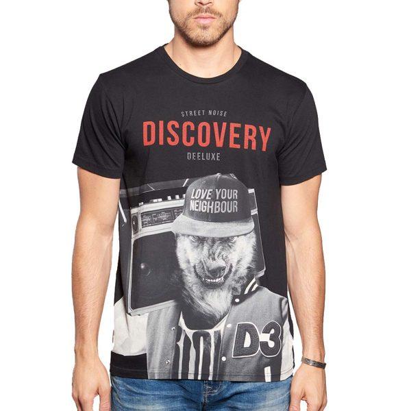 Κοντομάνικη Μπλούζα T-Shirt DEELUXE74 DISCOVERY W18192BLA Μαύρο