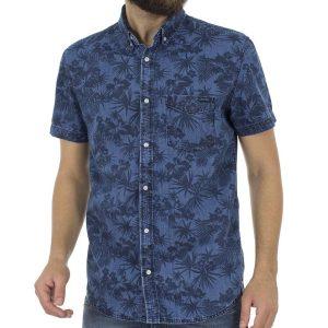 Τζιν Κοντομάνικο Πουκάμισο Slim Fit Denim Shirt DOUBLE DS-3 Μπλε