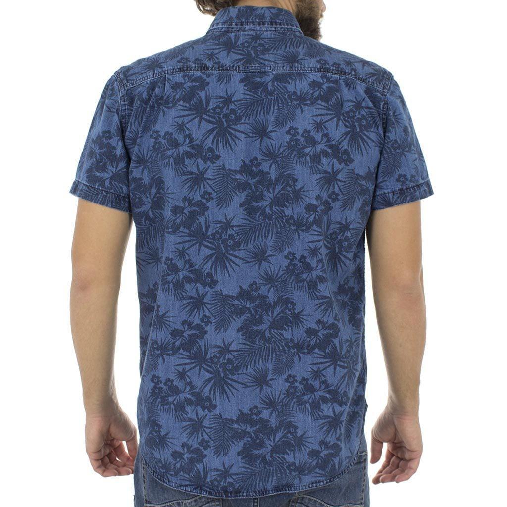 Τζιν Κοντομάνικο Πουκάμισο Slim Fit Denim Shirt DOUBLE DS-3 Μπλε ... 0a0154060b5