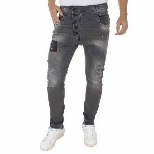 Τζιν Παντελόνι DAMAGED Jeans D5A boyfriend σκούρο Γκρι