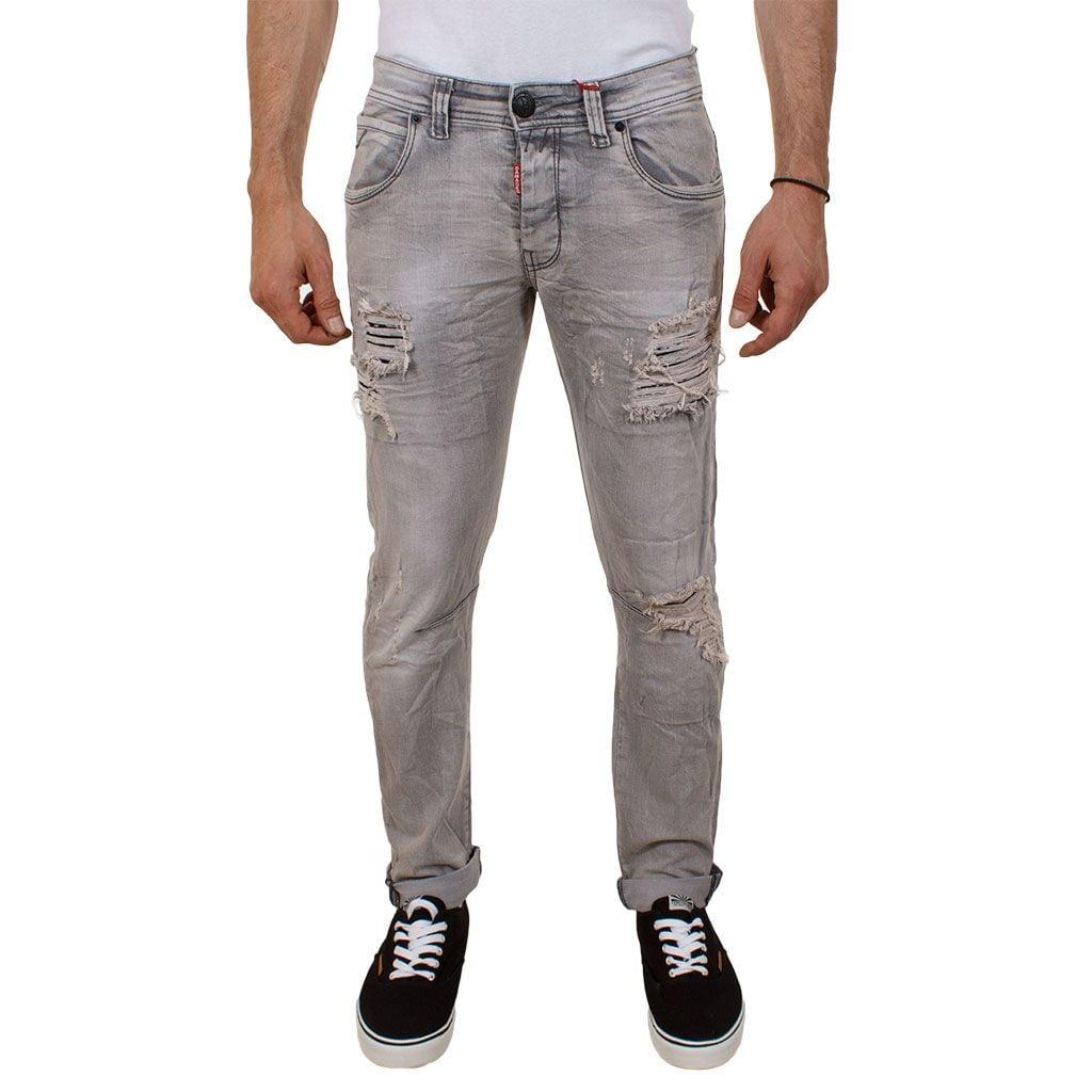 Τζιν Παντελόνι Damaged Jeans D5 Slim Grey Γκρι  a615c70bee4
