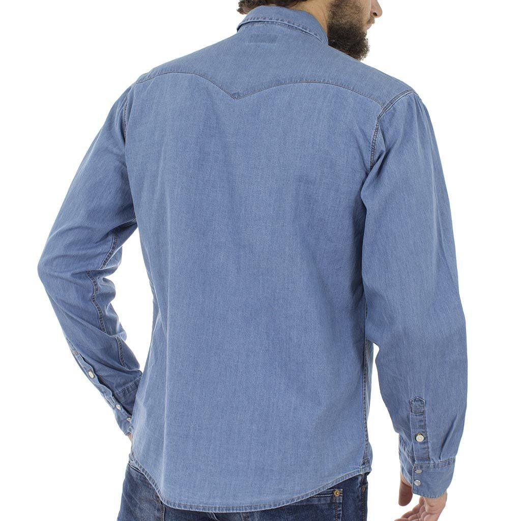 Τζιν Μακρυμάνικο Πουκάμισο Regular Fit DOUBLE DS-7 Denim Μπλε ... f91750c8864