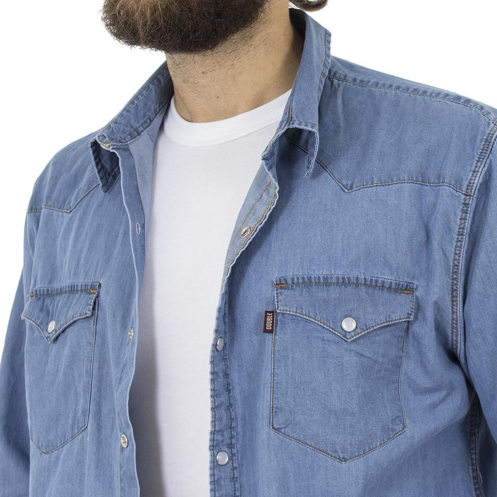 Τζιν Μακρυμάνικο Πουκάμισο Regular Fit DOUBLE DS-7 Denim Μπλε. ΠΟΥΚΑΜΙΣΑ  ΜΑΚΡΥΜΑΝΙΚΑ 53fc47c1743